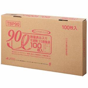 ジャパックス TBP90 容量表示入りゴミ袋 ピンクリボンモデル 乳白半透明 90L BOXタイプ