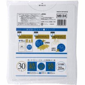 ジャパックス MS34 結び袋(むすびたい) 白半透明 30L