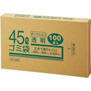 クラフトマン HK-096 業務用透明 メタロセン配合厚手ゴミ袋 45L BOXタイプ