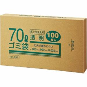 クラフトマン HK-097 業務用透明 メタロセン配合厚手ゴミ袋 70L BOXタイプ