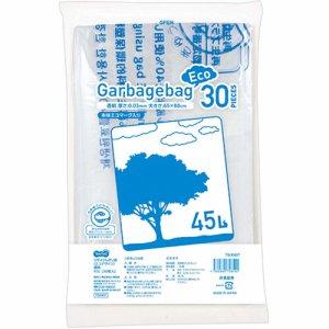 TG-E45T リサイクルポリ袋(エコデザイン) 透明 45L 30枚パック 汎用品