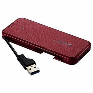 ELECOM ESD-EC0120GRD ケーブル収納型外付けポータブルSSD 120GB レッド