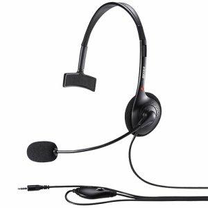 BUFFALO BSHSHCM100BK 片耳ヘッドバンド式ヘッドセット 4極 ブラック