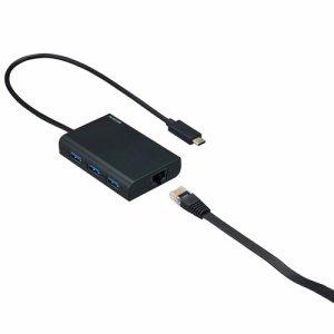 ELECOM EDC-GUC3H-B 有線LANアダプター GIGA対応 USB3.1(TYPE-C) USBハブ機能付 ブラック