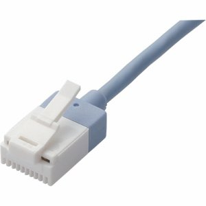 ELECOM LD-GPASST/BU05 ツメ折れ防止スーパースリムLANケーブル CAT6A準拠 ブルー 0.5m