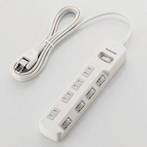 ELECOM T-K8A-2425WH 一括&個別スイッチ付 雷ガードタップ 2P・4個口 ホワイト 2.5m