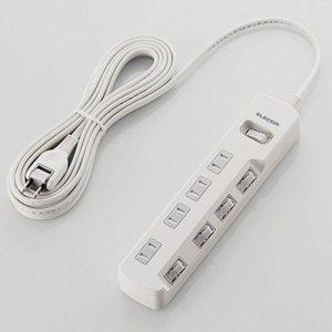 ELECOM T-K8A-2450WH 一括&個別スイッチ付 雷ガードタップ 2P・4個口 ホワイト 5.0M
