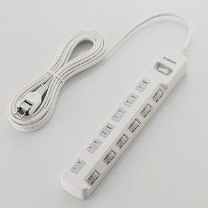 ELECOM T-K8A-2650WH 一括&個別スイッチ付 雷ガードタップ 2P・6個口 ホワイト 5.0M