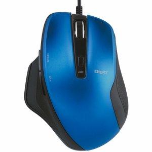 ナカバヤシ MUS-UKF156BL 有線静音5ボタンBLUELEDマウス ブルー