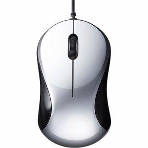 BUFFALO BSMBU100SV 有線 BLUELED 静音 3ボタンマウス シルバー