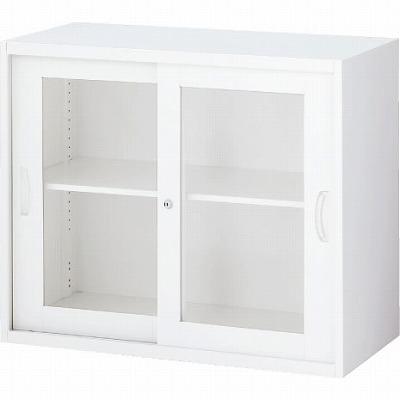 RW5-07SG 枠付ガラス引戸書庫 ホワイト