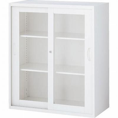 RW5-10SG 枠付ガラス引戸書庫 ホワイト