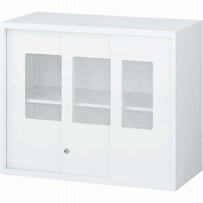 RW45-307SG 枠付ガラス3枚引戸書庫 ホワイト