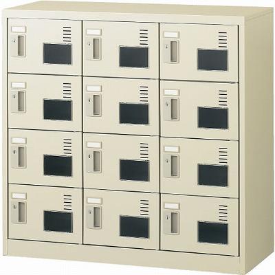 12人用シューズボックス 扉付・窓付・鍵なし(3列4段) 網棚なし