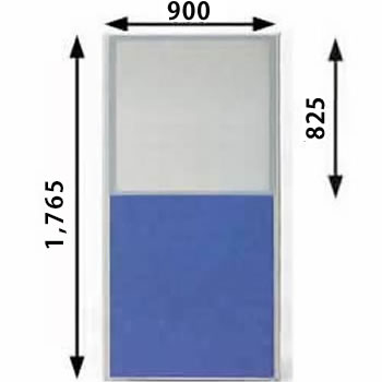 ローパーテーション MPシリーズ 高さ1765mm 幅900mm ブルー(上部半透明)