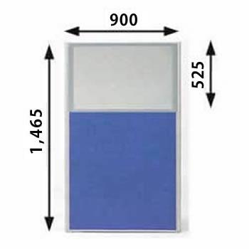 ローパーテーション MPシリーズ 高さ1465mm 幅900mm ブルー(上部半透明)