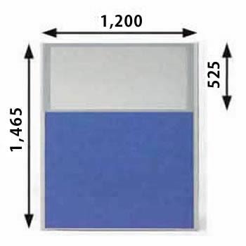 ローパーテーション MPシリーズ 高さ1465mm 幅1200mm ブルー(上部半透明)