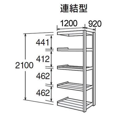 オカムラ 6F75BK-T44 中量棚 連結型 300kg 天地5段 高耐食性メッキ鋼板