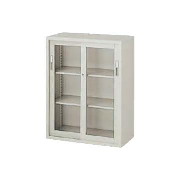 A4判対応 引違い書庫 ガラス戸 幅880 高さ1110 ウォームホワイト