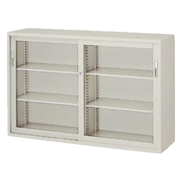 A4判対応 引違い書庫 ガラス戸 幅1760 高さ1110 ウォームホワイト