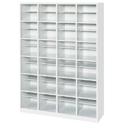 オープンシューズボックス 4列6段24人用中棚付 ホワイト