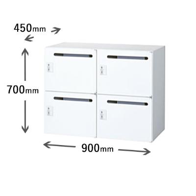 2列2段メールボックス シリンダー錠 ホワイト