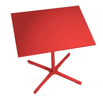nel ミーティングテーブル 900四角天板 type-B オレンジレッド