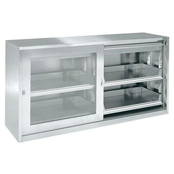ステンレス保管ユニット ガラス引違い戸 スライド棚 幅1800 高さ900