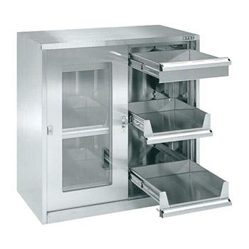 ステンレス保管ユニット ガラス引違い戸 スライド棚 幅900 高さ900