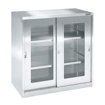 ステンレス保管ユニット ガラス引違い戸 幅900 高さ900