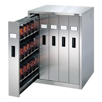 ステンレス薬品保管庫 バーチカル5列 樹脂トレー