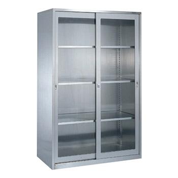 大型ステンレス保管ユニット ガラス引違い戸 幅1160 高さ1800