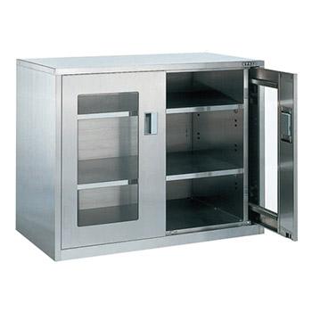 大型ステンレス保管ユニット 横ケント式ガラス扉 幅1160 高さ900