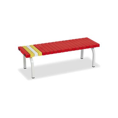 ホームベンチ 1200 背無し 脚部粉体塗装 樹脂製 レッド