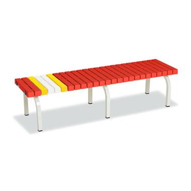 ホームベンチ 1500 背無し 脚部粉体塗装 樹脂製 レッド