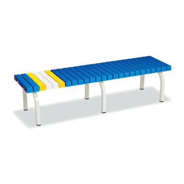 ホームベンチ 1500 背無し 脚部粉体塗装 樹脂製 ブルー