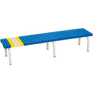 ホームベンチ 1800 背無し 脚部粉体塗装 樹脂製 ブルー