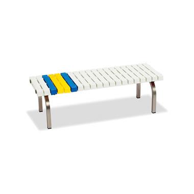 ホームベンチ 1200 背無し 脚部ステンレス製 樹脂製 ホワイト