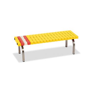 ホームベンチ 1200 背無し 脚部ステンレス製 樹脂製 イエロー