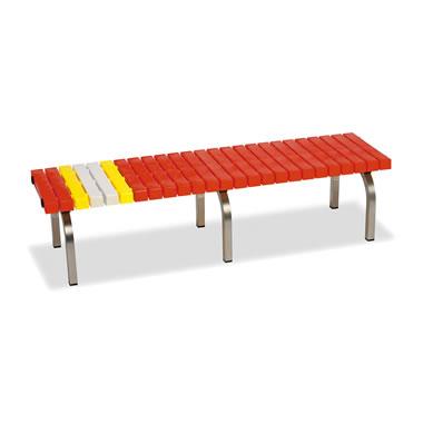ホームベンチ 1500 背無し 脚部ステンレス製 樹脂製 レッド