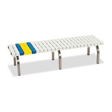 ホームベンチ 1500 背無し 脚部ステンレス製 樹脂製 ホワイト