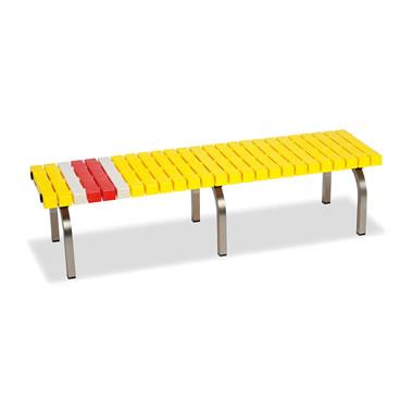 ホームベンチ 1500 背無し 脚部ステンレス製 樹脂製 イエロー