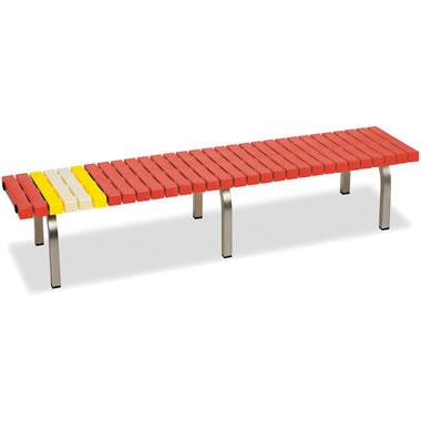 ホームベンチ 1800 背無し 脚部ステンレス製 樹脂製 レッド