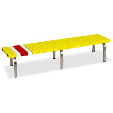 ホームベンチ 1800 背無し 脚部ステンレス製 樹脂製 イエロー