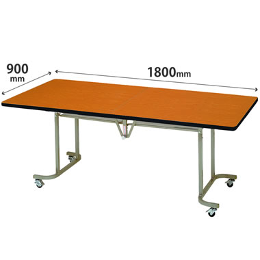 フライトテーブル 角型 ソフトエッジ巻 幅1800mm×奥行900mm チーク