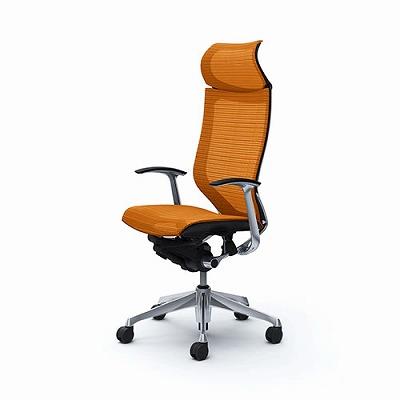 バロンチェア 固定ヘッドレストハイバック 座メッシュ オレンジ 固定肘 ブラックボディ ポリッシュフレーム