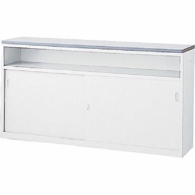 ハイカウンター 中棚付引戸タイプ 本体色:ホワイト 天板色:ホワイト
