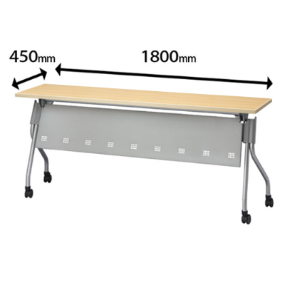 スタックテーブル 幅1800 奥行450 ナチュラル 幕板付き 棚付き