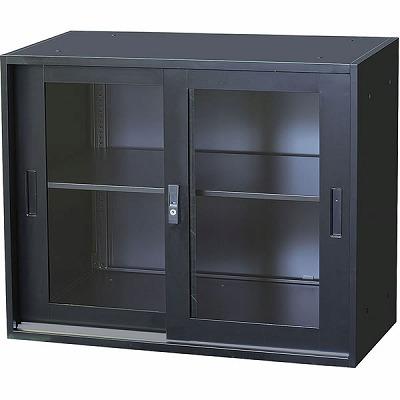 ガラス引違い書庫 上置用 幅880×奥行400×高さ750mm ブラック