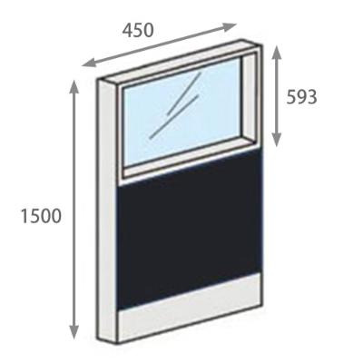 パーテーションLPX 上部ガラスパネル 高さ1500 幅450 ブラック